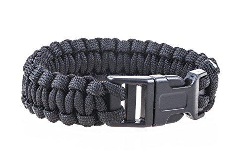 lillybox Besonderes und praktisches Paracord Outdoor und Survival Armband, schwarz, für Wanderungen, Outdoor, Camping und vieles mehr!