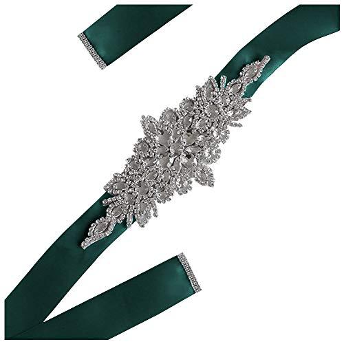 Doitsa - Cinturón de novia, accesorios para vestido de novia, de estrás de lujo, para vestido o falda, verde, 23.5*9.5cm