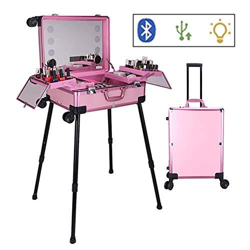 Mallette Maquillage Trolley Beauty Case avec Grand Miroir Lumineux et Bluetooth USB Mallette Cosmétique Voyage Studio pour Artiste Maquilleur avec Plateaux