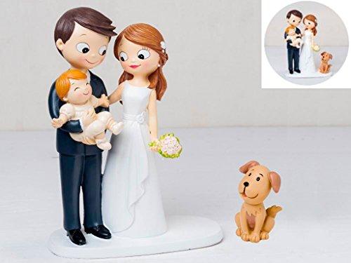 Momparler1870 Tortenfigur Brautpaar mit Baby auf dem Arm und Hund