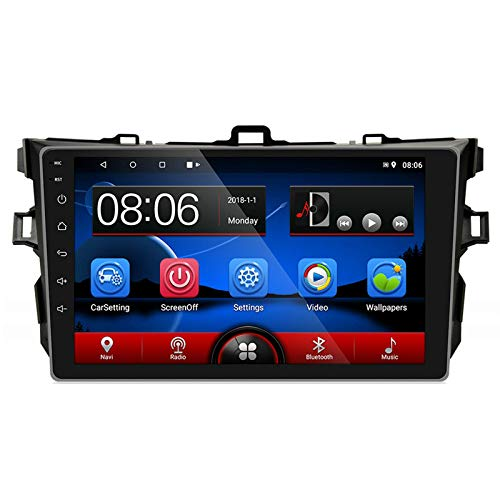 QIQIDIAN Compatible con T-oyota Corolla 2007-2012 9'Android 8.1 Car Multimedia MP5 Player Navegación GPS Reproductor WiFi,with 4 led Camera