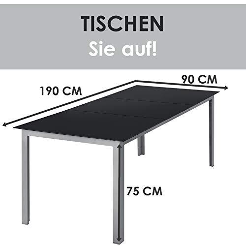 ArtLife Aluminium Gartengarnitur Milano | Gartenmöbel Set mit Tisch und 8 Stühlen | Silber-grau mit schwarzer Kunstfaser | Alu Sitzgruppe Balkonmöbel - 6
