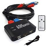 Generic Marche - Interruttore KVM USB a 2 porte, adattatore per decoder video 4K per monitor PC, tastiera e mouse, connettore USB splitter HD con telecomando a infrarossi
