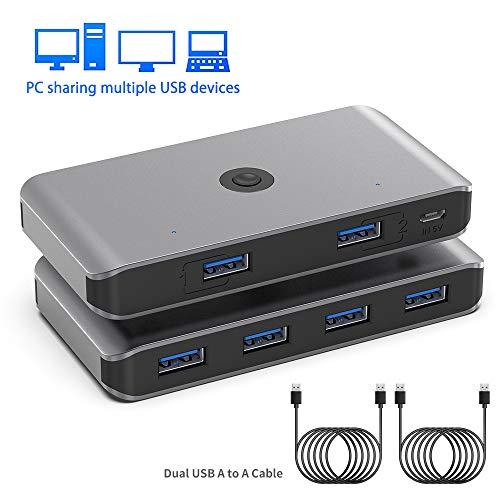Rocketek USB 3.0 KVM Switch, 4 Ports HUB für 2 PCs, 2 In 4 Out Umschalter, USB 3.0 Peripherie Umschaltbox mit 2 USB 3.0 Kabel für Drucker, Scanner, Tastatur, USB Sticks, Festplatten, Maus usw.