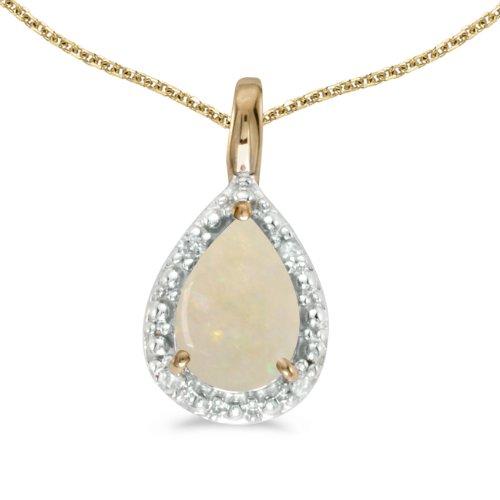14 K oro Pear Opal colgante