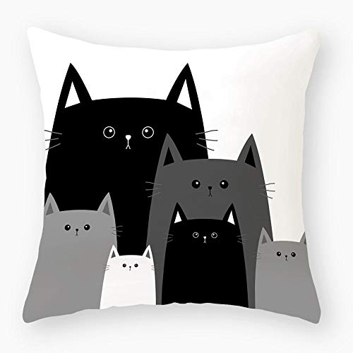 zzxywh Funny Cute Black Lover Cat Pillowcase Cushion Cover Pillow Cover Sofa Car Home 50×50cm with pillow core