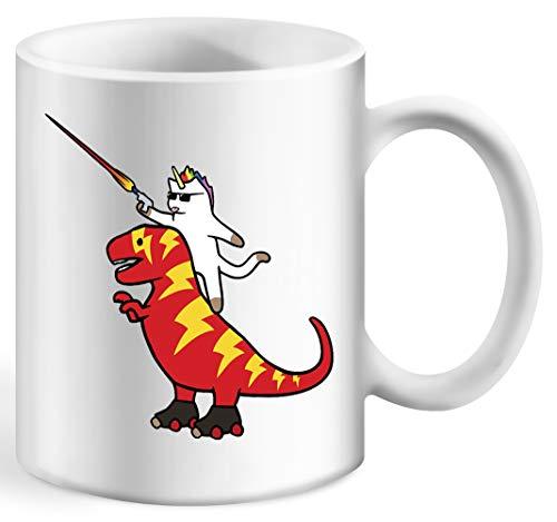Einhorn Katze Reiten Blitz T-Rex Kaffeebecher Weiß Tassen Becher White Ceramic Cup Mug