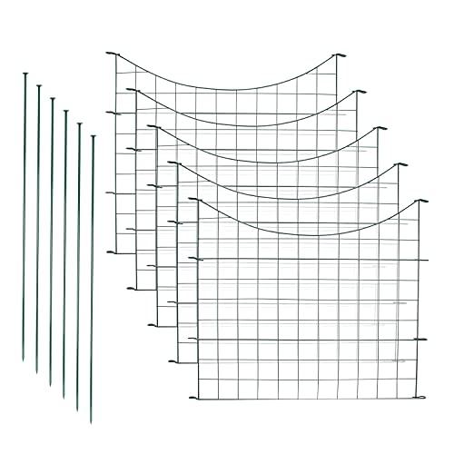 VINGO Teichzaun Gartenzaun 11tlg Set Zaun Teich mit 5 Zaunelemente und 6 Befestigungsstäben, Metallzaun Grün, Gitterzaun, Gartenzaun, Campingzaun (Unterbogen)