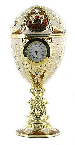 Hübsches Schmuck Ei im Stil Fabergés, goldfarben aus emailliertem Metall mit Uhr und Spieluhr - Für Elise (L. V. Beethoven)