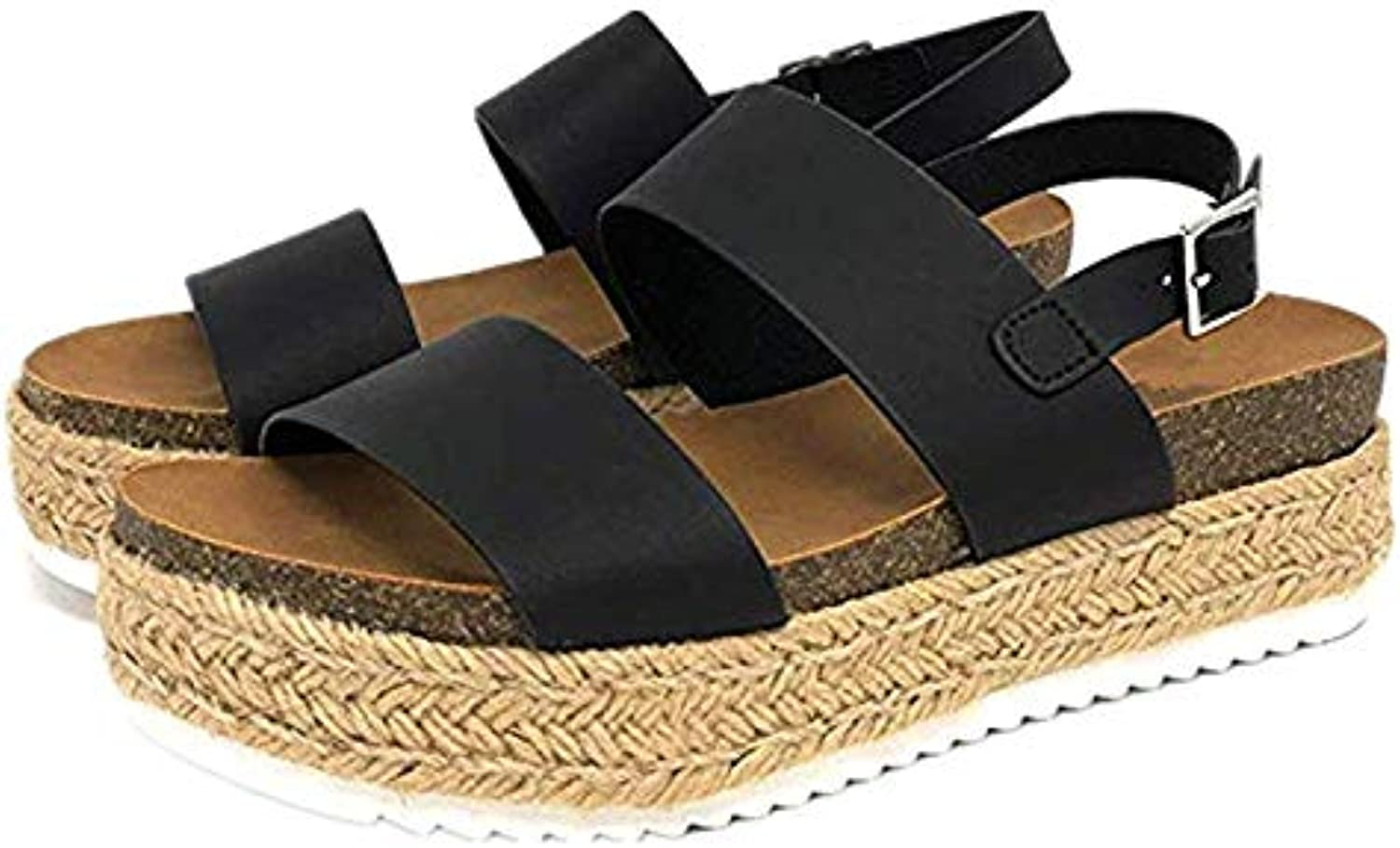 Sandals Ladies Platform Espadrille Summer Wedge Heel Leather 5 cm Heel Sandals Peep Toe Shallow Summer shoes Comfortable,Black,35
