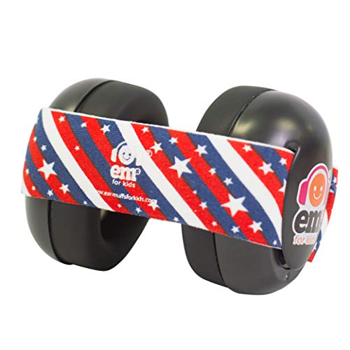 EMS for Kids Baby Earmuffs - Black with Stars n Stripes. The Original Baby Earmuff, Now Made in The USA!. Great for Concerts, Music Festivals, Planes, NASCAR, Motor Racing, Power Tools and More!