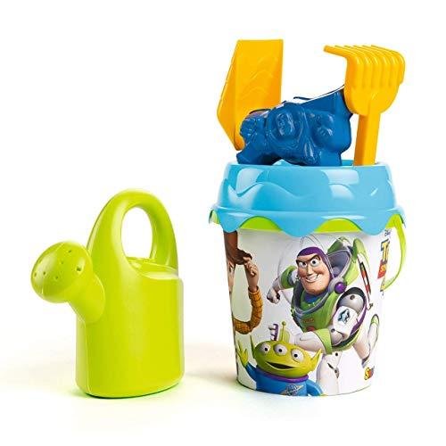 Smoby Cubo da Spiaggia Toys Story 17 cm con regolatore, Paletta, rastrello e molda Multicolore (862096