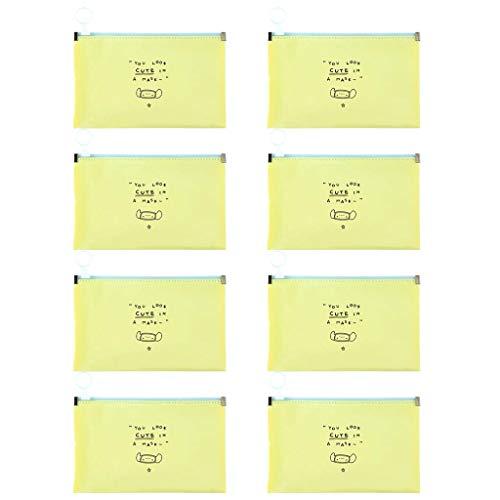 8 Piezas Color sólido Bolsa para Guardar Mask_Mascarillas Bolsa, lavable e impermeable Se puede limpiar Bolsa de almacenamiento de la caja de almacenamiento de la carpeta de almacenamiento
