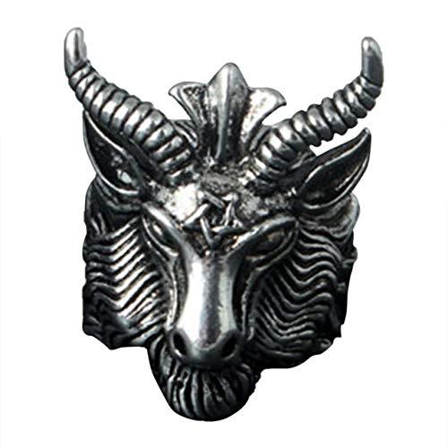 NewIncorrupt Anillo para hombre, joyería, Vintage, adoración a Satanás, oveja, cabeza de cabra, anillo de acero de titanio, accesorios, cumpleaños, regalo del Día de San Valentín