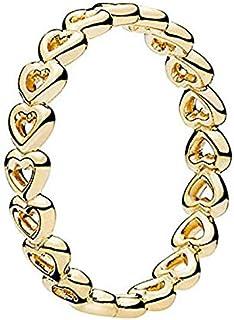Pandora Women's Gold Plated Shine Heart Stacking Ring - 52 EU - 167105-52