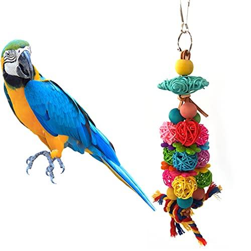ZTTT Multicolor Parrot Chew Juguete Natural Ratán Pájaro Pájaro Juguete Loro Mordedura Mordedura Resistente a Pájaro Entrenamiento Pájaro Toy Parrot Jaula Accesorios