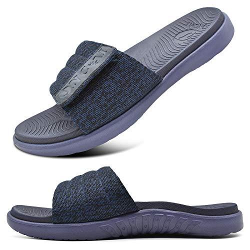 ONCAI Azul Sandalias de Piscina Hombre Punta Abierta Correa Ajustable Pantuflas Verano Ortesis de Soporte de Arco Deportes Zapatillas Playa Talla 46
