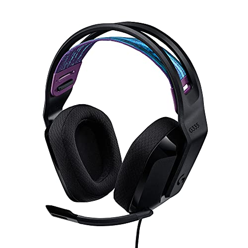 Logitech G335 Cuffie Gaming Cablate, Microfono Flip to Mute, Jack Audio da 3,5 mm, Padiglioni in Memory Foam, Leggera, Compatibile con PC, PlayStation, Xbox, Nintendo Switch- Nero