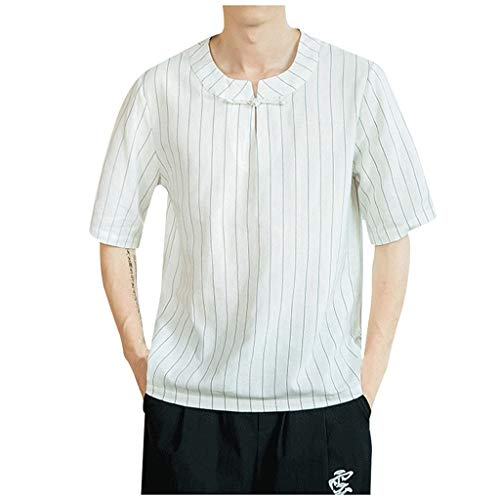 Check Out This Men's Summer Vintage Stripe Linen Patchwork Short Sleeve T-Shirt Comfort Tops White