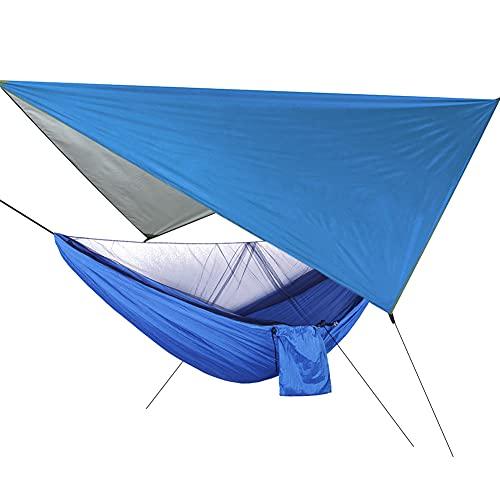 Hamaca, hamaca colgante para patio, patio con mosquitera portátil para acampar de viaje (el color de la bolsa de uñas de tierra es aleatorio)(Toldo azul + Hamaca azul)