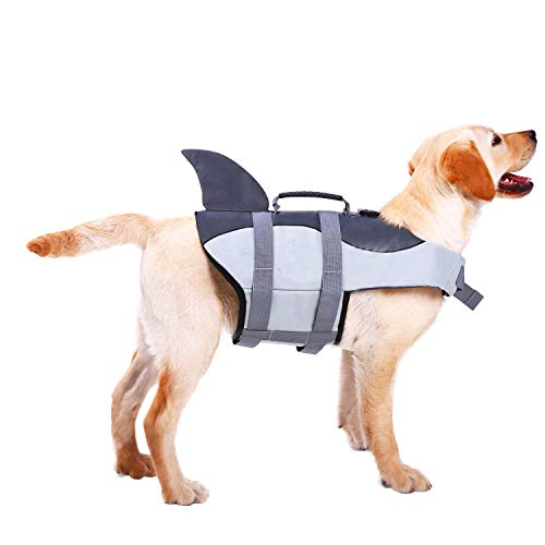 ASENKU Dog Life Jacket Ripstop Pet Floatation Vest Saver Swimsuit Preserver for Water Safety at The Pool Beach Boating XS Gray