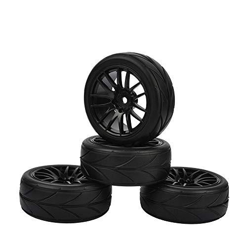WeizEU Hot Wheel Felgen für HSP HPI CC01 TT01 Flat Racing 4PCS RC 1:10 On-Road Auto Reifenresistent Ausdauererreifen Ersatzreifen, Schwarz , Diameter: 52 mm /2.05 inch
