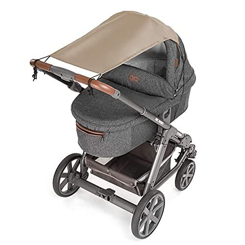 Zamboo - Parasol Carrito Bebe Universal / Toldo silla paseo / Protector solar para cochecitos y capazos enrollable con Protección solar UV 50+ - Beige