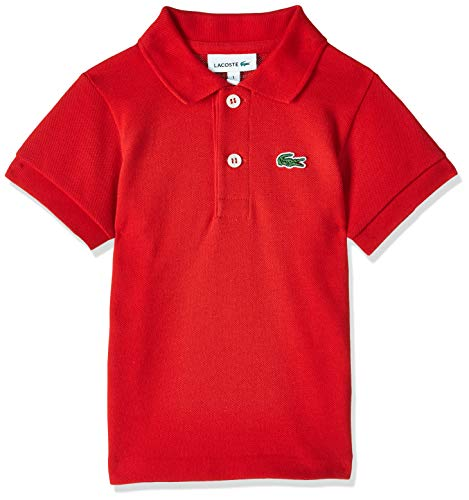 Lacoste Little Boys' (l1812) Short Sleeve Classic Pique Polo Shirt, Red, 8