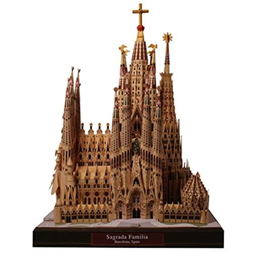 CYC DIY Sagrada Familia, España Modelo de Papel Artesanal Arquitectura 3D DIY Juguetes educativos Juego de Rompecabezas para Adultos Hecho a Mano