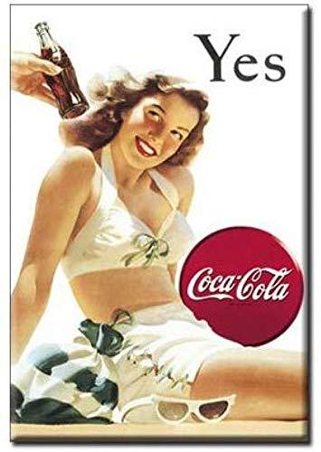 Coca-Cola Mädchen in Weiß Badeanzug Magnet Ja