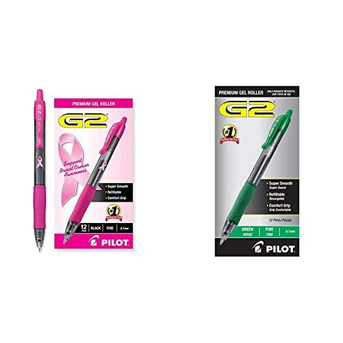 PILOT G2 Premium Pink Ribbon Retractable Gel Roller Ball Pen, Fine Point, Black Ink, 12-Pack (31332) & G2 Premium Refillable & Retractable Rolling Ball Gel Pens, Fine Point, Green Ink, 12-Pack (31025)