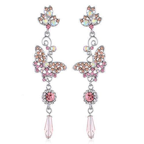 Korean version of long alloy diamond-studded wild flower earrings sweet butterfly earrings temperament earrings