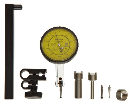 Mitutoyo 513-444-10T Dial Test Indicator, 0-1.6mm Range, 0.01mm Resolution, 10 Micrometer Accuracy, 0-40-0 Dial Reading, Full Set