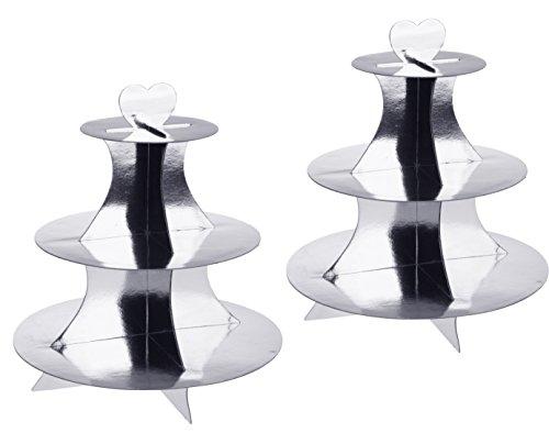 Unbekannt 2 Stück Cupcake/Muffin Ständer mit 3 Böden, Etagere 3 Stöckig aus Pappe in Gold und Silber (2X Silber)
