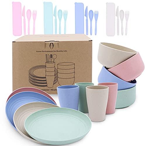 Seahelms Juego de 28 platos de paja de trigo, ligeros e irrompibles, cuencos reutilizables, tazas, platos y cubiertos, ideal para niños y adultos, apto para microondas y lavavajillas