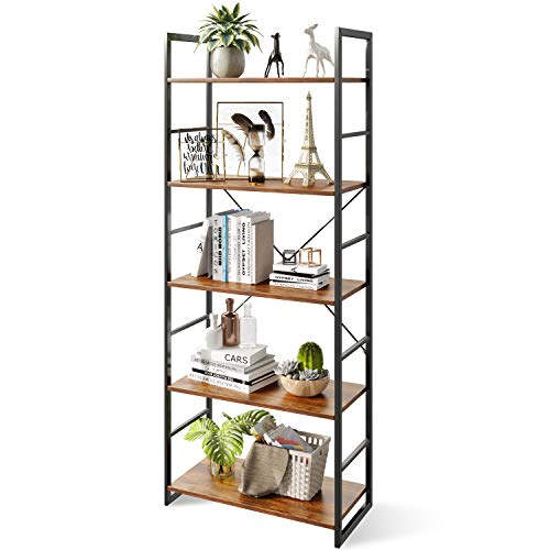 ODK 5 Tier Bookshelf Tall Bookcase Shelf Storage Organizer Modern Book Shelf for Bedroom Living Room and Home Office Rustic Brown