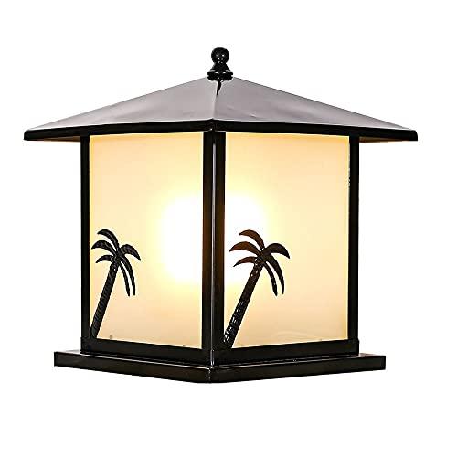 LPFWSK Decoración de patrón de árbol de coco negro al aire libre poste linterna, modelo de pilar cuadrado modelo cuadrado, luces de columna con lámparas de vidrio escarchado, impermeable y Luces de pu