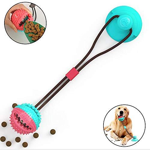 AFFINEST Hundespielzeug mit Saugnapf Ziehspielzeug Hund Ball Kauspielzeug Multifunktions-Spielzeug für Haustiere Zahnreinigungsspielzeug,A Blau