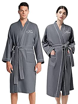 AW BRIDAL Grey Waffle Knit Robe Matching Robes for Couples Gift Loungewear Sleepwear Pajamas His and Hers Robes Sets Couples 2PCS