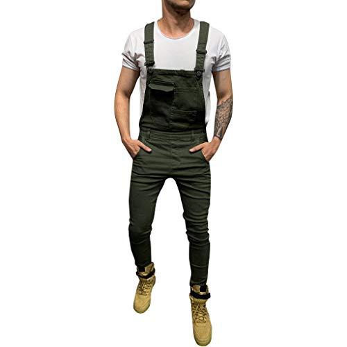 Pantalones vaqueros largos de peto para hombre, estilo retro, estilo informal, ajustado, con bolsillos, lavado a la piedra, pantalones de trabajo Verde militar. L