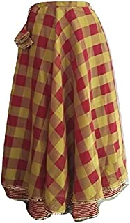 SNEH Women's Designer Silk Checkered Skirt (Multicolor,Free Size)