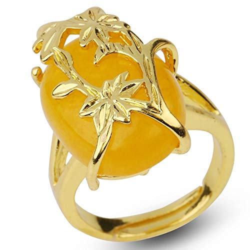 adjustable ring for women,Golden flower leaf inlaid oval natural Yellow Jade Aura Stone Charm Adjustable Open Knuckle Tail Ring Finger Joint Toe Ring Jewelry for Women Girls Gift Wedding engagement
