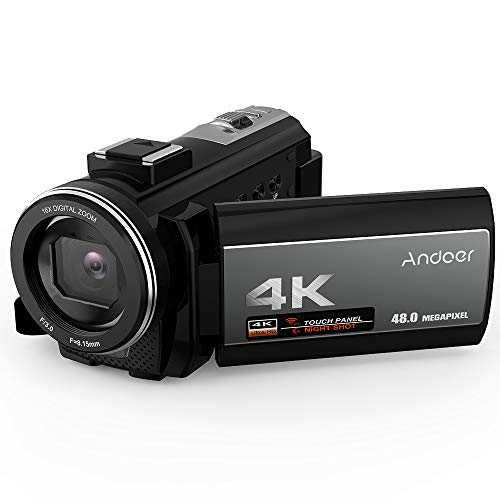 Andoer 4K Digital Videokamera Camcorder Ultra HD 48MP WiFi 3,0 Zoll Touchscreen IR Infrarot Nachtaufnahme 16X Digitalzoom mit 1pc 2500mAh Wiederaufladbare Kamera Akku