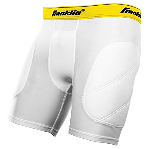 Franklin Sports-Youth Baseball Sliding Shorts - Padded Slide Shorts with Cup Holder - Compression Shorts Perfect For Baseball and Softball - Small , White