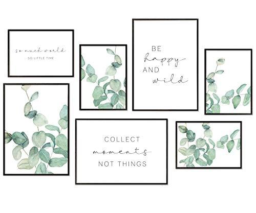 Hyggelig Home Set di poster di alta qualità – 7 immagini abbinate in elegante set – Quadro da parete – 3 x DIN A3 + 4 x DIN A4 – Set di poster in eucalipto acquerello senza cornice