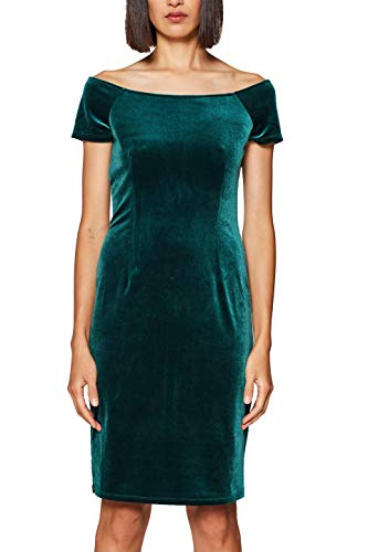 edc by ESPRIT Damen 118CC1E031 Kleid, Grün (Dark Green 300), Small