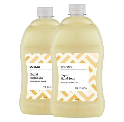 Amazon Brand - Solimo Liquid Hand Soap Refill, Milk and Honey Scent, Triclosan-Free, 56 Fluid Ounces, Pack of 2