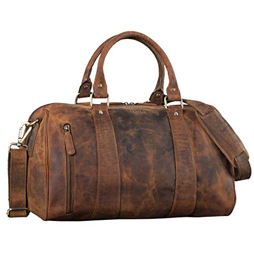 STILORD 'Keanu' Leder Weekender Herren kleine Vintage Reisetasche zum Umhängen Handgepäck Reisegepäck in Kabinengröße echtes Rindsleder, Farbe:mittel - braun