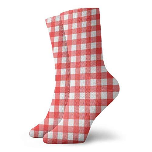 BJAMAJ Unisex Sokken Rood En Wit Tafelkleed Interessant Polyester Crew Sokken Volwassene Sokken Katoen