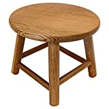 Consdan Handcraft Solid Oak Wood Stool for Kids, Adult Doorway Shoe Changing Stool, Living Room Read Rest Seat, Round Individual Low Stool(Natural)